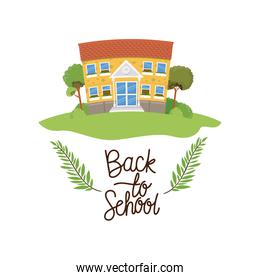 school building with back to school label