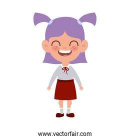 student girl standing smiling on white background