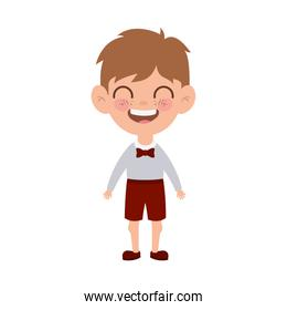 student boy standing smiling on white background