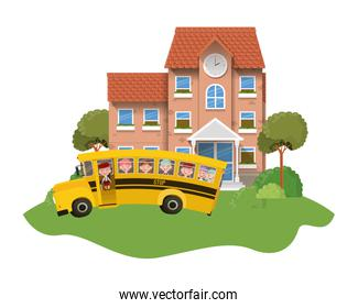 school building of primary with bus in landscape