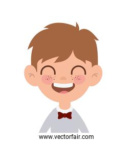 student boy smiling on white background
