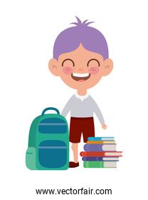student boy with school supplies on white background