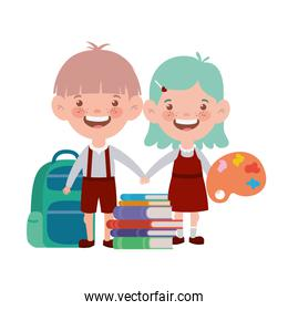 couple of students with school supplies on white background