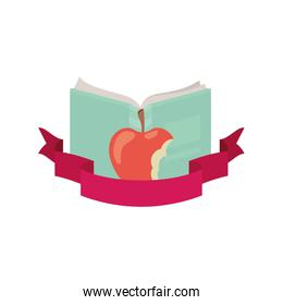 book open with apple fruit and ribbon