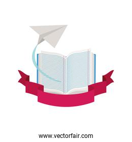 books with paper plane and ribbon
