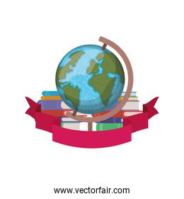 stack of books with globe and ribbon
