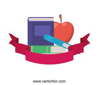 stack of books with apple fruit and ribbon