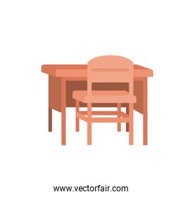 wooden chair and desk teacher workplace