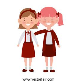 student girls standing smiling on white background