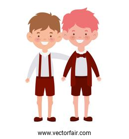 student boys standing smiling on white background