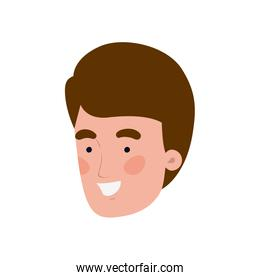 head of young man smiling on white background