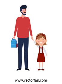 father with daughter of back to school