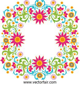 frame of colorful flower of the india