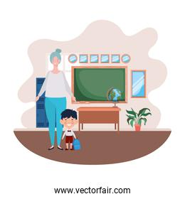woman with son of back to school