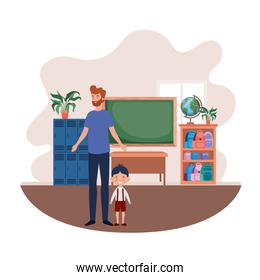 father with son of back to school
