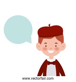 student boy smiling with speech bubble