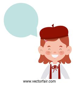 student girl smiling with speech bubble