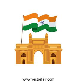 celebration of Indian independence day with flag