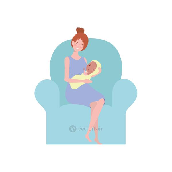 woman sitting on sofa with a newborn baby in her arms