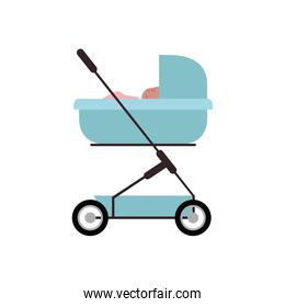 baby newborn in the stroller isolated icon