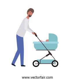 young man standing with newborn baby in the pram