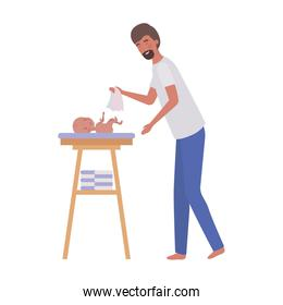 woman with newborn baby in the diaper changing
