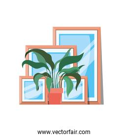 portrait and houseplant isolated icon