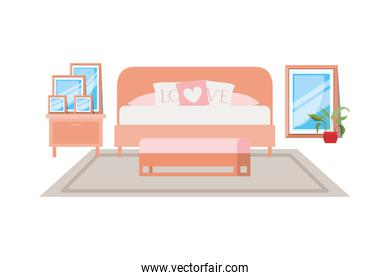 room with bed isolated icon