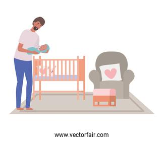 Isolated father with baby design