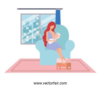 Isolated mother with baby design