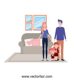 Isolated father and mother with kids design