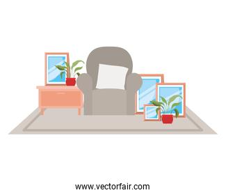 Comfortable home chair design vector illustration