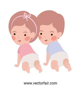 Isolated baby boy and girl design