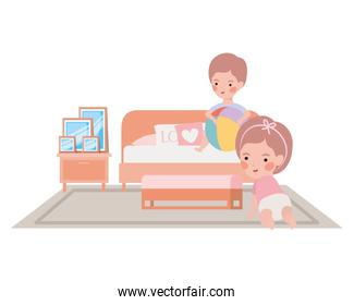 cute little kids babies in the bedroom characters