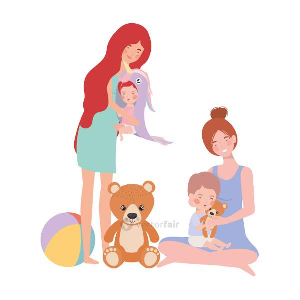 cute pregnancy mothers with little babies characters