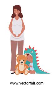 afro pregnancy mother with little boy characters