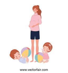cute pregnancy mother with little kids characters