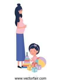 cute pregnancy mother seated with little girl characters