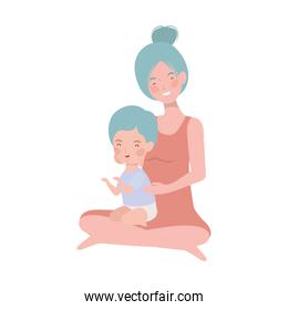 cute pregnancy mother seated with little boy characters