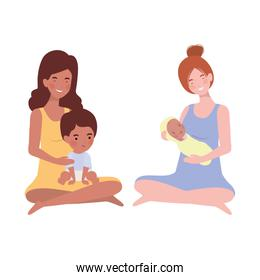 interracial pregnancy mothers seated lifting little babies characters