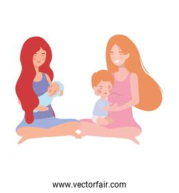 cute pregnancy mothers seated lifting little babies characters