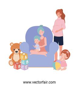cute pregnancy mothers with little babies in livingroom