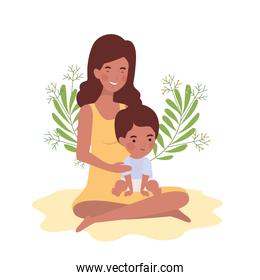 afro pregnancy mother seated lifting little baby characters
