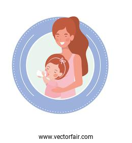 cute pregnancy mother with little girl characters