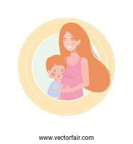 cute pregnancy mother with little boy characters