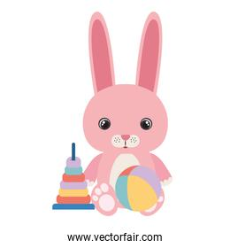 cute little rabbit with set toys