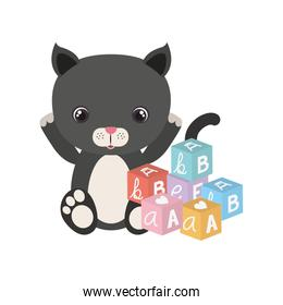 cute little cat with blocks toy character