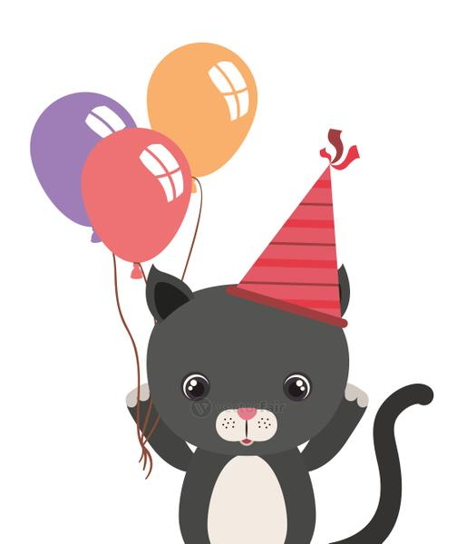 cute cat animal with balloons helium