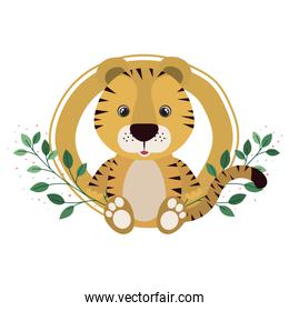cute tiger with branch and leaves of background