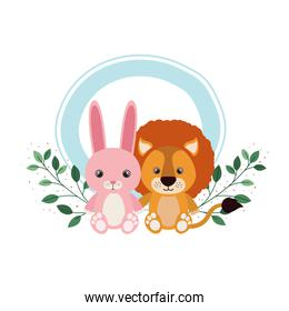 cute animals for baby card with branch and leaves of background